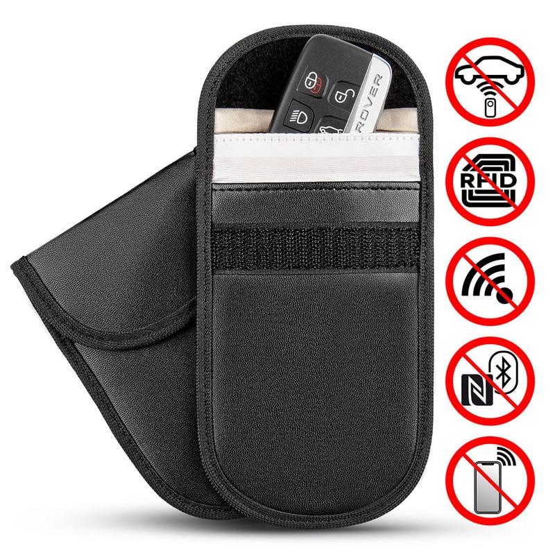 1pc Faraday Bag Car Key Signal Blocker Anti-degassing Anti-theft Bag Case Cage Fob Pouch Keyless RFID Blocking Bag Auto Profucts
