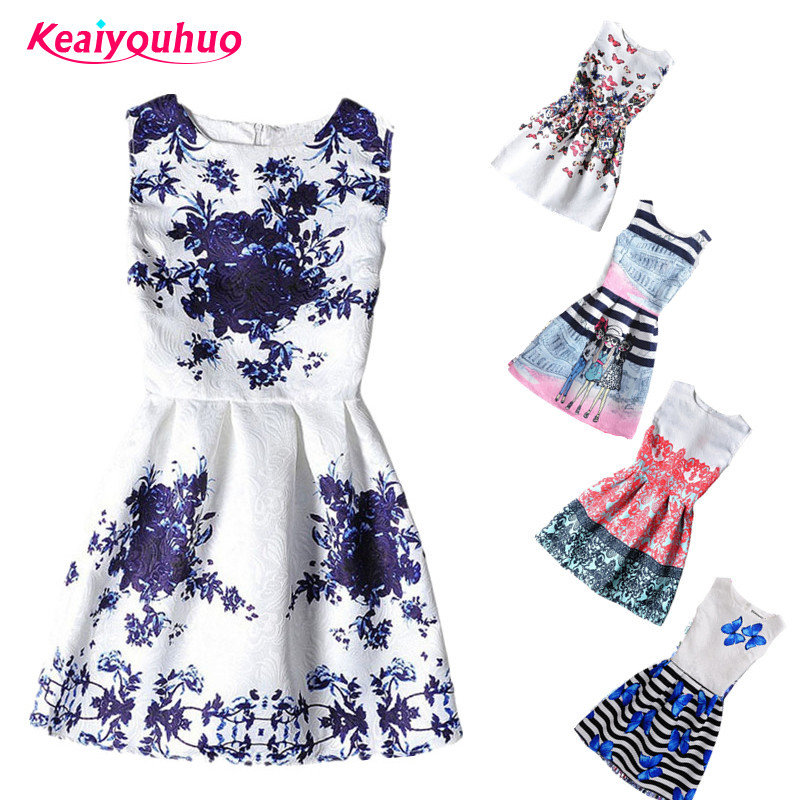 2017 Summer Kids Dresses For Girl Butterfly Floral Printed Sleeveless casual Girl Dresses Age 6 8 9 10 11 12 16 Year Party Dress