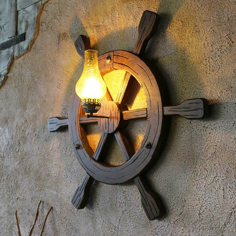 Antique Rétro Méditerranée Mer Chêne Bois Rudder Anchor Led E27 Mur lampe Pour Restaurant Café Bar Salon Déco Dia 94 cm 1938
