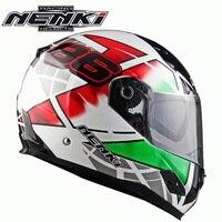 Free Shipping 1pcs NENKI Full Face Dual Visor Motorcycle Street Bike Helmet DOT Motocross Racing Motorcycle