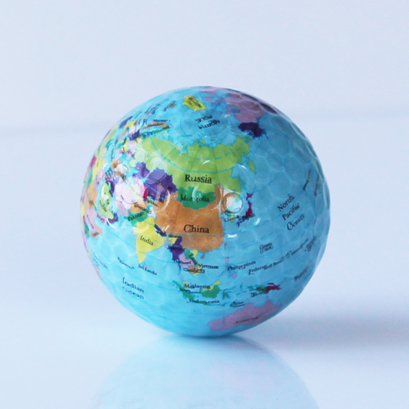 Free shipping 3 pcs/lot Globe Map Color Golf Balls Practice Golf Balls Golf Gift Balls