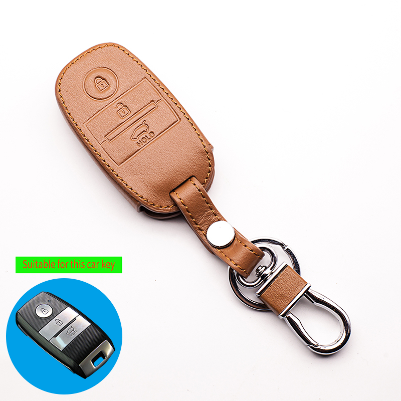 Car smart key wallet car genuine leather key cover leather key cases for Kia Optima K5 Sportage 3 button remote starline a91