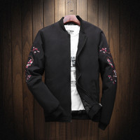 2018 New Spring Black Embroidery Bomber Jacket Men Streetwear Brand Clothing Add Cotton Thickening High Quality