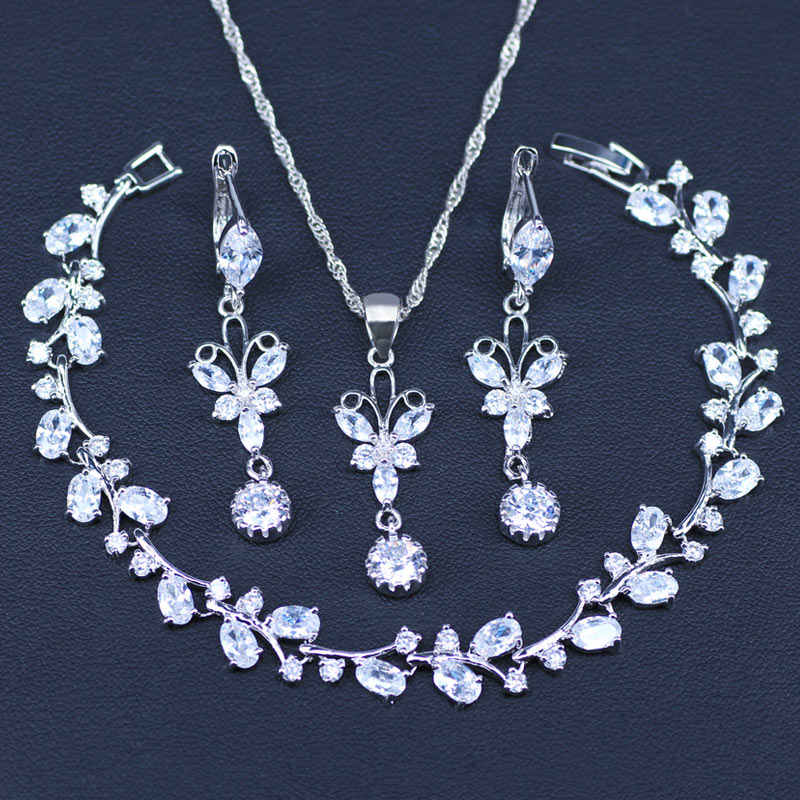 White Zircon Silver 925 Jewelry Sets For Decorating Women Set of Earrings With Stones Pendant&Necklace Jewelery Gift Box