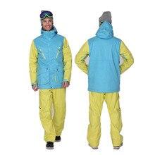 Fresco estilo gsou snow snowboard chaqueta de esquí hombres de la chaqueta de deporte de invierno 2016 ropa esqui hombre de camuflaje pantalones de esquí