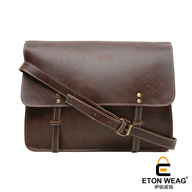 ETONWEAG New 2017 women brands Italian leather brown document shoulder bag cover fashion messenger bags preppy