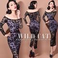 Envío gratis Sexy elegante vestido de encaje partido completo de perspectivity / vestido bodycon / vestido del club