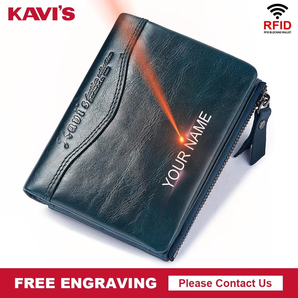 KAVIS 100% Genuine Leather Men Wallet Male Purses Small Walet And Portomonee Money Bag Zipper Card Holder Boys Free Engraving