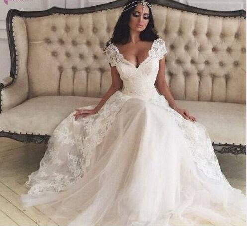 Fashion Cap Sleeve V Neck Wedding Dress Lace wedding gowns abiti da sposa vestido de casamento bridal gowns Robe de mariage