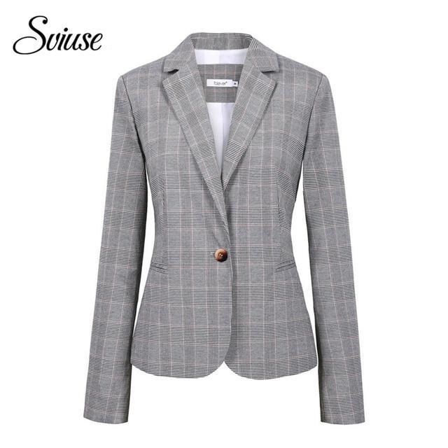 Women Plaid Single Button Cotton Blazer Ladies Office Grey Long-Sleeve Casual Jackets Suits Female Plus Size Fashion School Coat