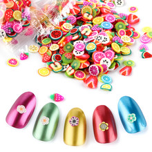 1000Pcs/Bag 3D Fruit Feather Flowers Mix Styles Designs Tiny Slices Polymer Clay DIY Beauty Nail Stickers Decorations Tools(China)