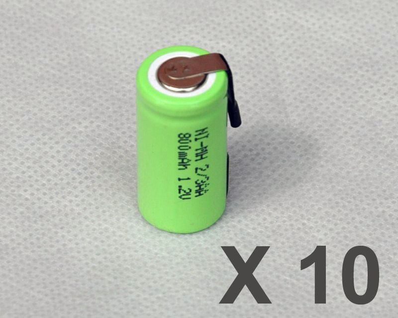10PCS 1.2V 2/3AA rechargeable battery 800mah 2/3 AA ni-mh nimh cell with tab pins for electric shaver razor toothbrush