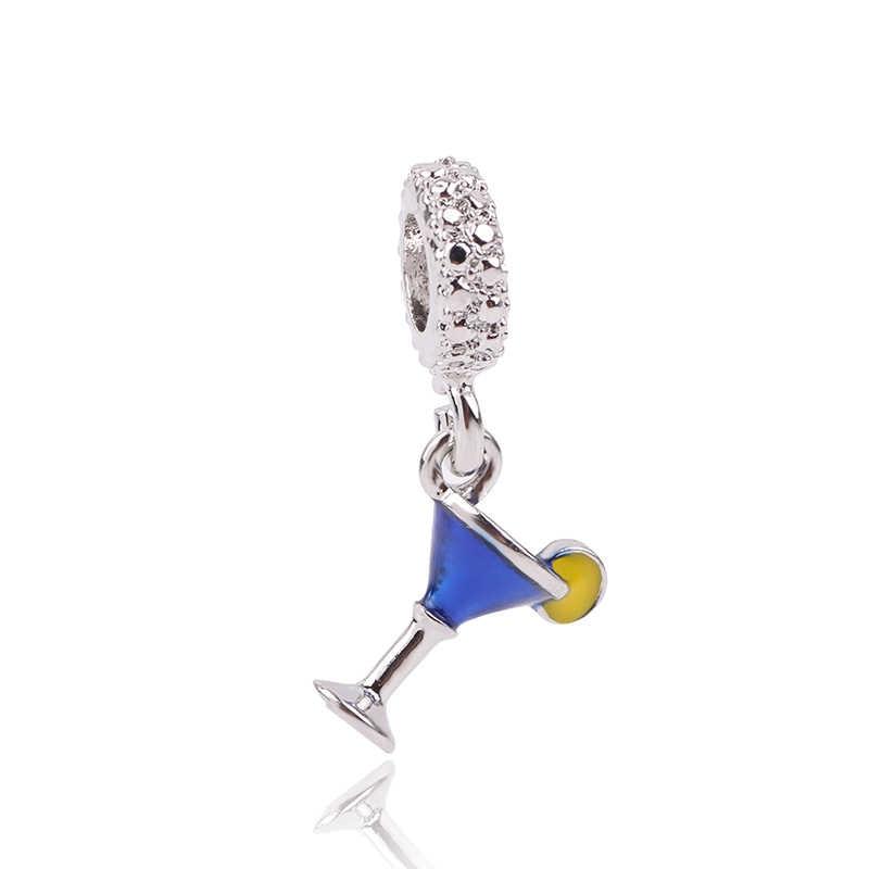 AIFEILI כסף צבע מקורי אירופאי מברשת ים סוס טירה פרפר מלאך חרוזים פנדורה סגולה צמידים ושרשרות