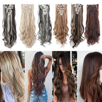 SNOILITE 24inch 8pcs/set Wavy 18 Clips in False Hair Styling Synthetic Hair Extensions Hairpiece Extension hair 6