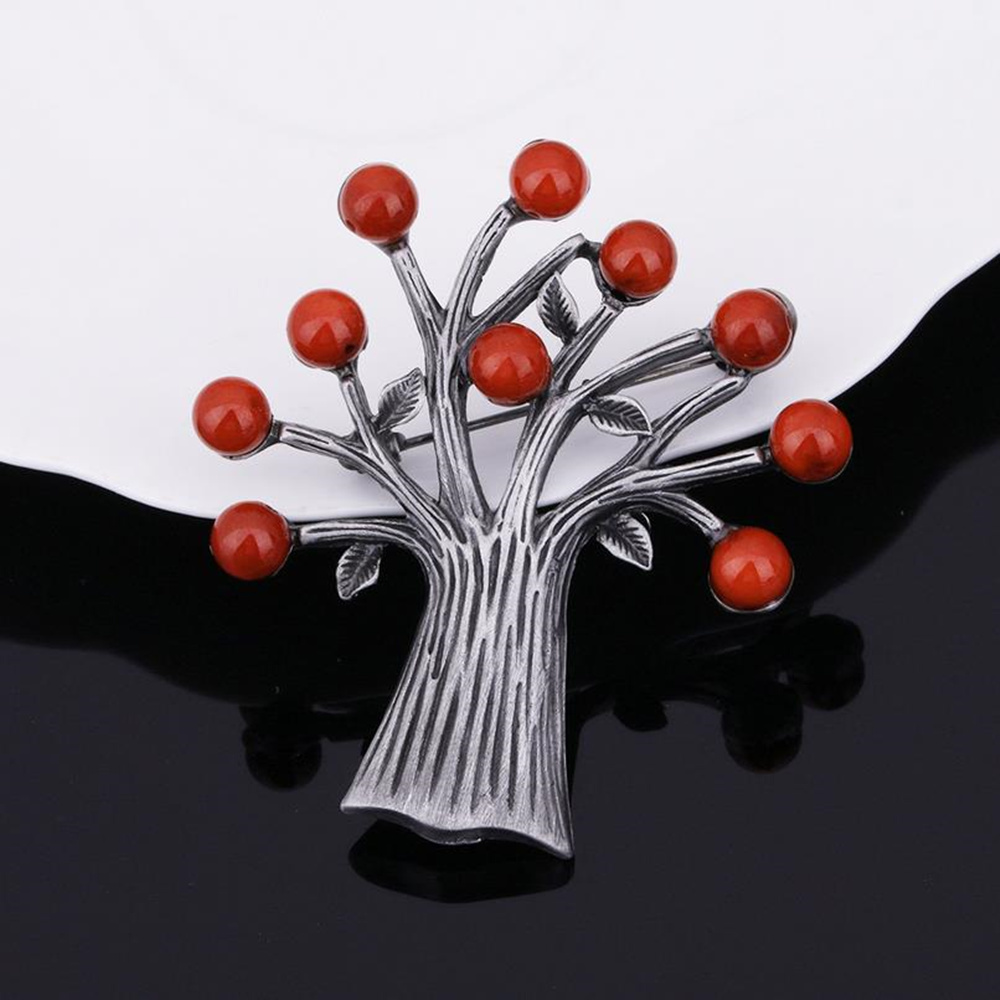 DoreenBeads Tree Shape Safety Pin Brooch Men Women Suit Shirt Collar Pins Fashion Accessory for Sweater Scarf Coat Dress Bag 1PC