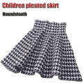 Autumn Winter Style Black And White Houndstooth Pattern Pleated Skirt Girls Princess Skirts Tutu Girl Knitting Short Skirts