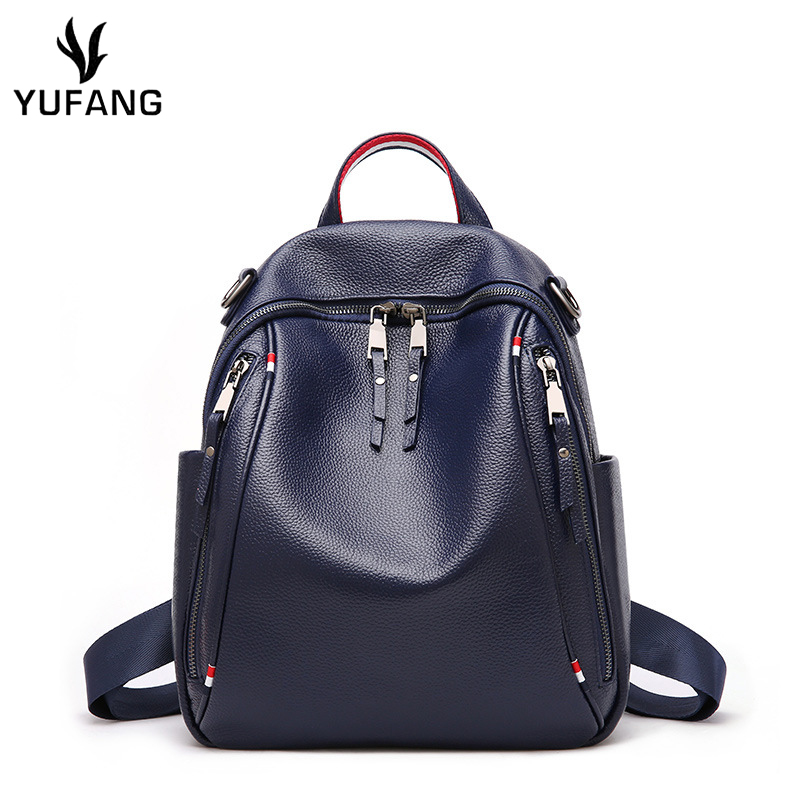 YUFANG Women Backpack Genuine Leather Fashion Causal Bags High Quality Cowskin Female Shoulder Bag Trendy Backpacks
