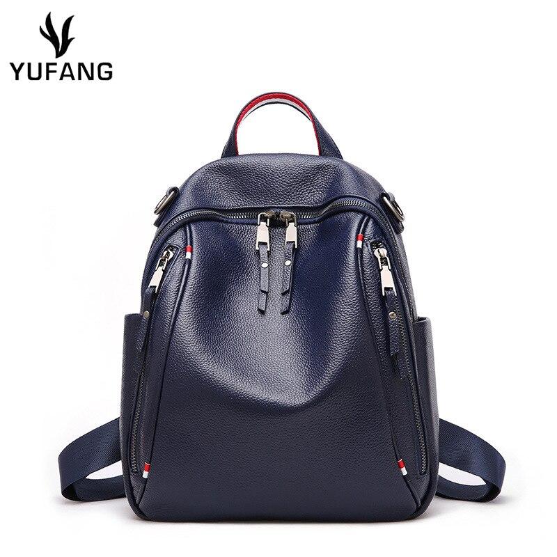 100% QualitäT Yufang Frauen Rucksack Aus Echtem Leder Mode Kausalen Taschen Hohe Qualität Rindsleder Weibliche Schulter Tasche Trendy Rucksäcke Für Mädchen Farben Sind AuffäLlig
