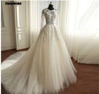 CloverBridal free customize vintage lace long sleeve 2017 wedding dress buttons back flowing tulle long train vestido de noiva