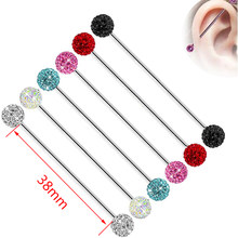 1 Piece 14G Long Straight Industrial Barbell Rings Full Crystal Ball Tragus Ear Piercing Nipple Rings Bar Body Jewelry(China)