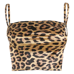 Image 4 - Waatfaak Leopard Crop Top Straps Camisole Satin Sexy Backless Bandage Boob Tank Top Fashion Slash Neck 2018 Croptop Femme 2018