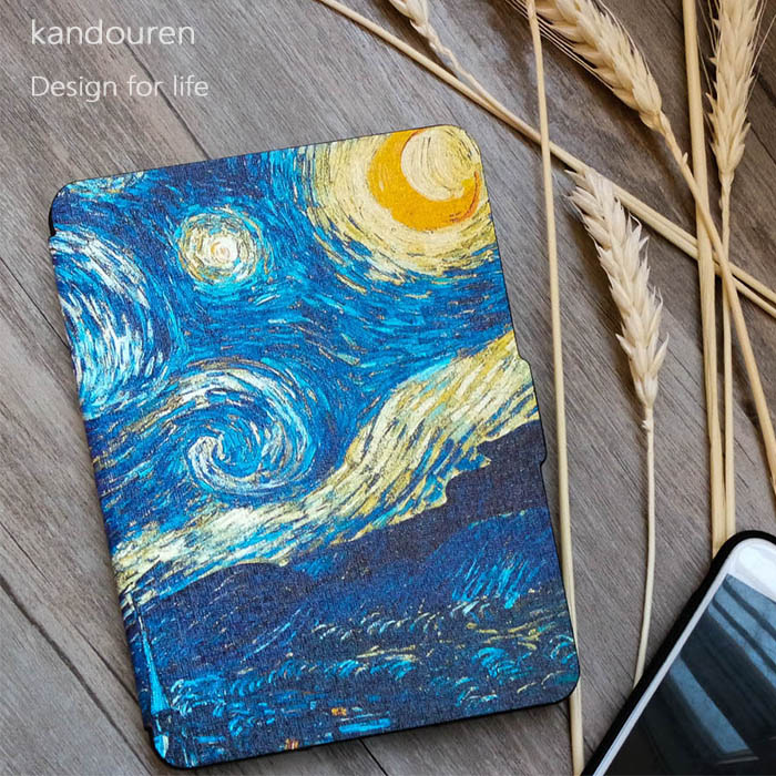 Kandouren-Case para Kindle Paperwhite Van Gogh pele Design, Capa Fit KindlePaperwhite 2013 2015 2016 2017 ª geração