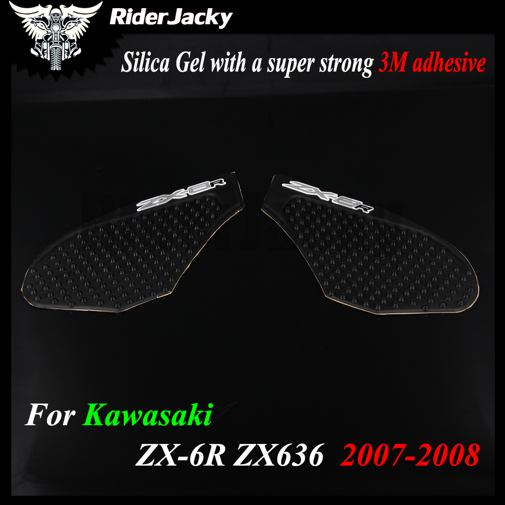 For Kawasaki ZX6R ZX 6R ZX-6R ZX636 2007-2008 2006 Protector Anti slip Tank Pad Sticker Gas Knee Grip Traction Side 3M Decal