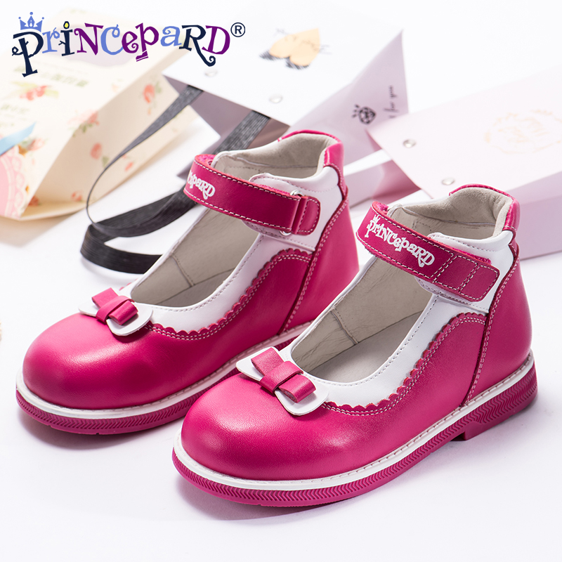 Princepard 2018 New summer orthopedic sandals for girls genuine leather princess shoes pink student shoes pig