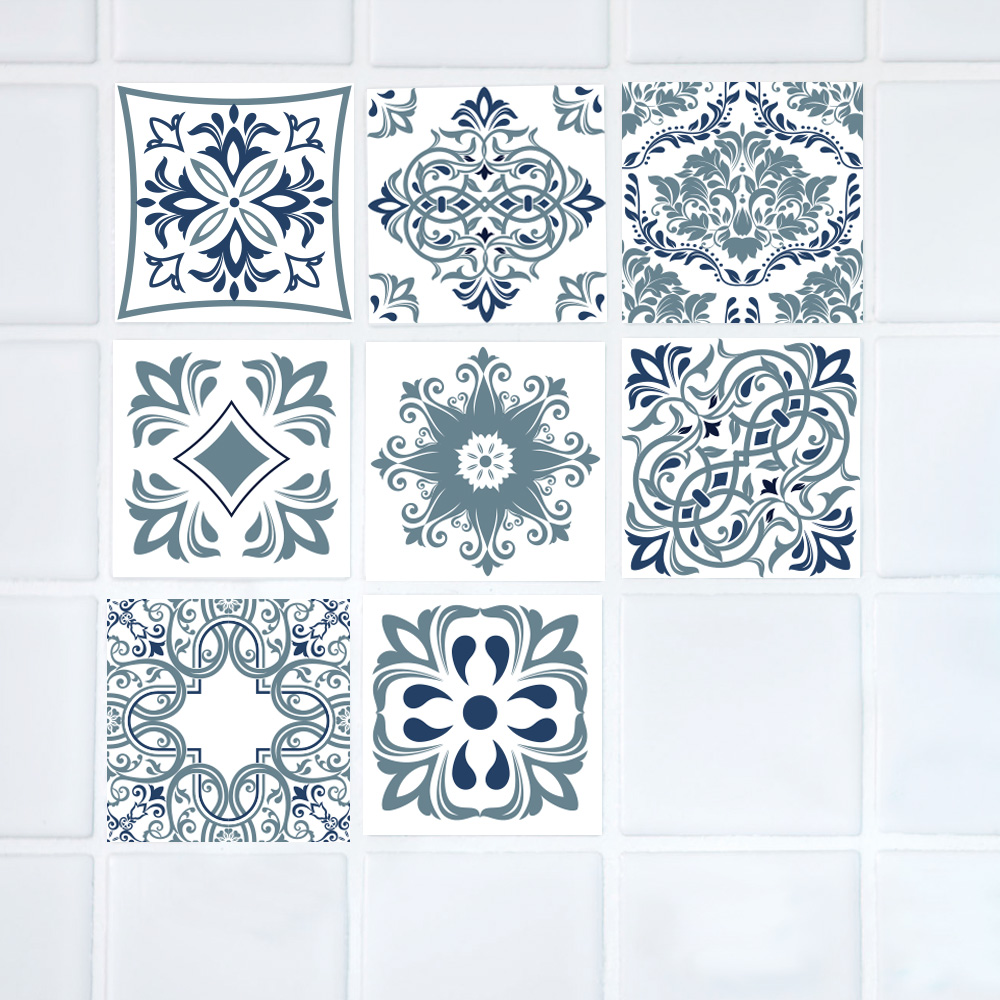 8 Kinds Morocco Retro Square Waterproof Stickers on The Wall Decor ...