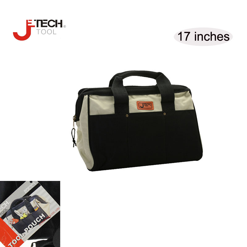 ФОТО Wholesale Jetech wide mouth large mechanics  contractor tote tool carrier organizer tool bag w/ shoulder strap 17 inches black