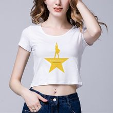 Hamilton Musical Star 1704176 Ladies Short T-Shirt Vintage 3D Print Women's Crew Neck Crop Top Tee