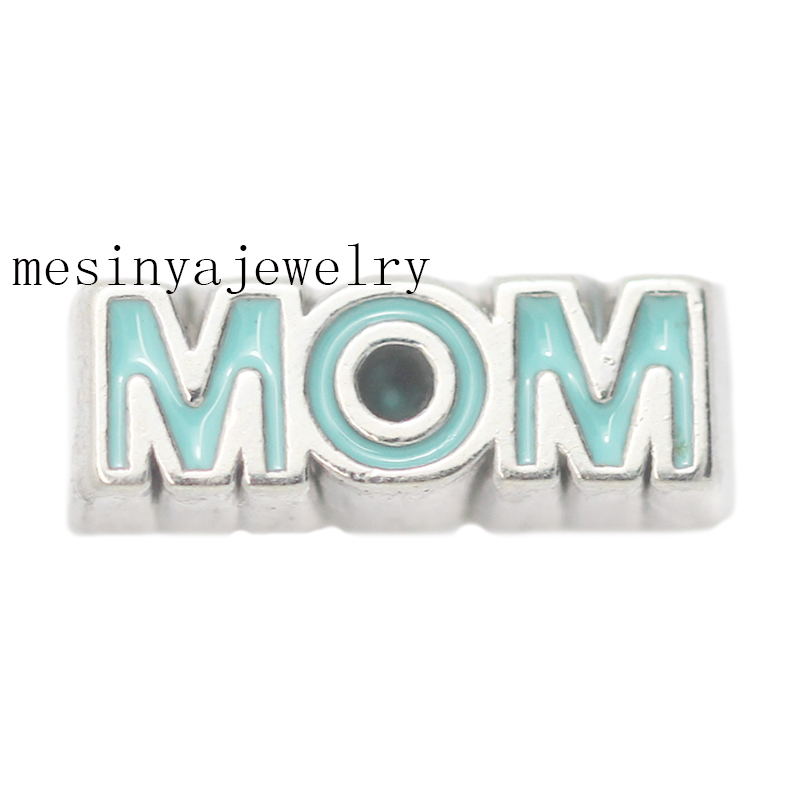 10PCS 2015 new silver color Turquoise mom floating charms for glass locket FC-.Min amount $15 per order mixed items