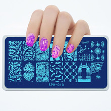 1pcs SPH-Series Nail Stamping Plates Spider Bat Skull Pattern Art Stamp Template Image Plate #010
