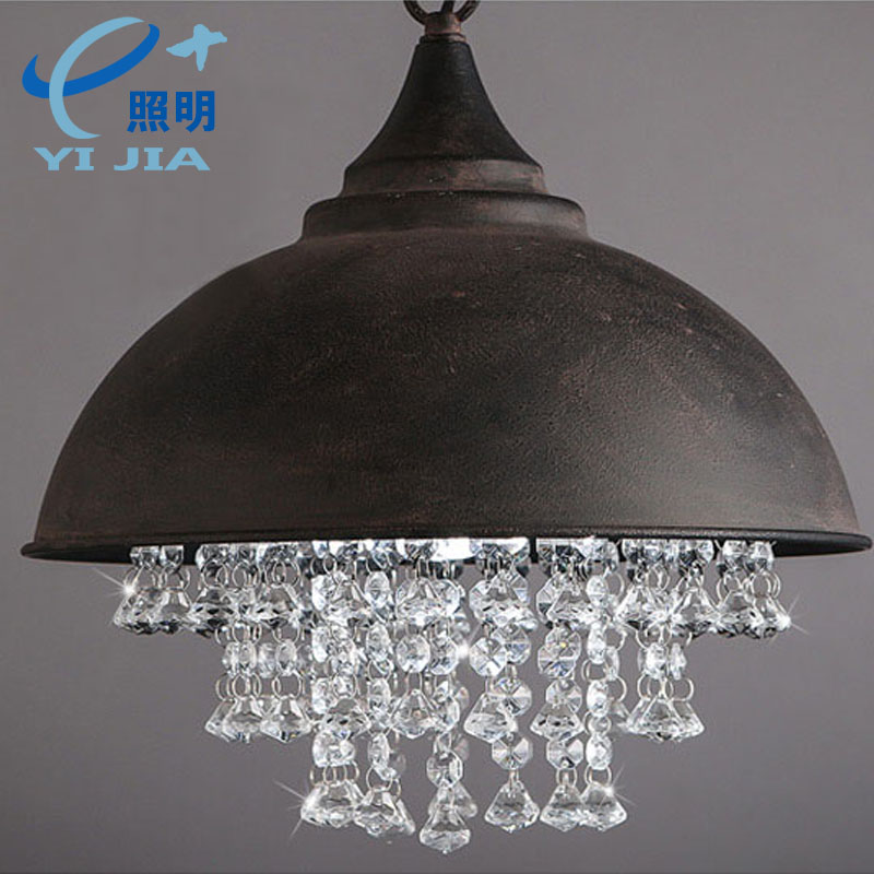 loft American country retro iron pot lid crystal pendant light clubs bar dining hang lamp droplight 110-240V