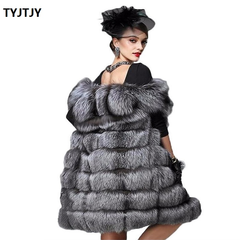 Casaco feminino fashion imitation fur coat vest female autumn and winter long section 2018 new stitching fox fur vest jacket