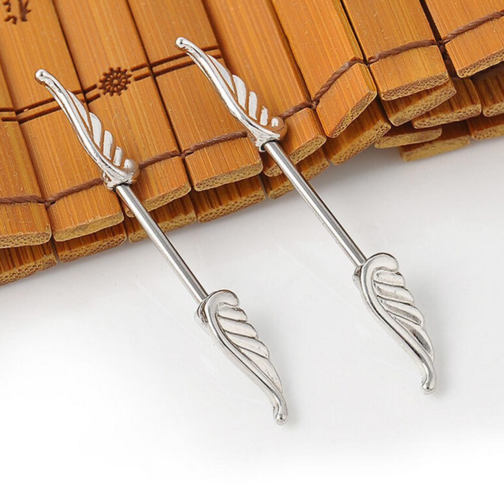 Velishy1 Pc Angel Wings Feather Alloy Shields Ring Bar Barbell Fashion Body Piercing Jewelry
