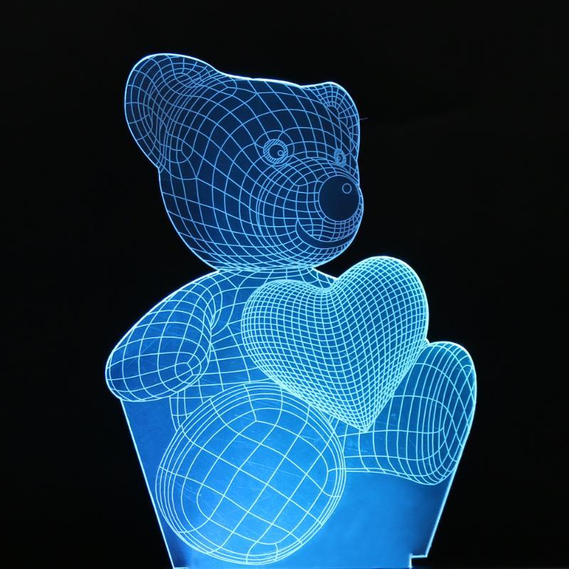 Cartoon Cute Heart Bear Shape Acrylic LED Lamp 3D Baby Night Light Sleeping Lighting Acrylic Bedroom Lamp Lights Decoration