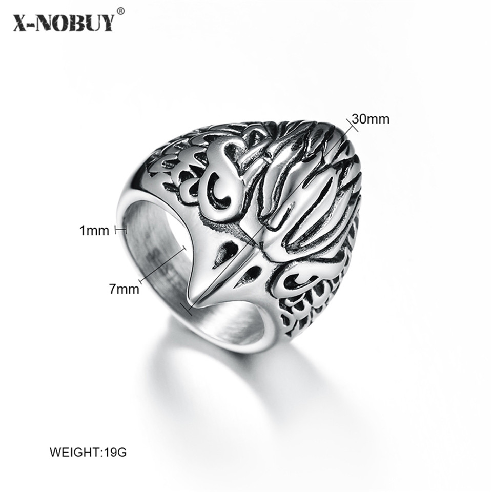 X-NO BUY Fashion Jewelry Biker Eagle Ring Mans High Quality Stainless Steel Men Punk Viking Jewellry Drop Ship Rings Wholesale