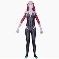 Spandex Lycra Zentai Spiderman Costume for Halloween and Cosplay Female Spider Suit Anti Venom Gwen 3D Print Spider Gwen Stacy