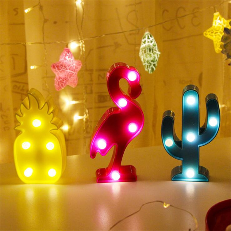 Cartoon Flamingo Cactus 3D LED Night Light Christmas Decor Children Kids Room Night Lamp LED Table Lamp Home Decorations Gift