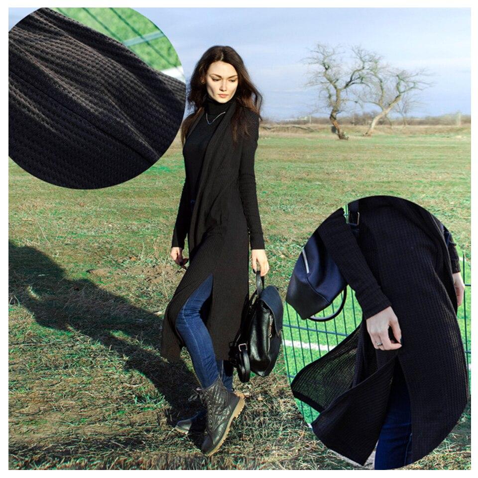 SHEIN Black Split Side Longline Plain Long Sleeve Cardigan Women Outerwear Coat 2019 Spring Cotton Casual High Street Coats