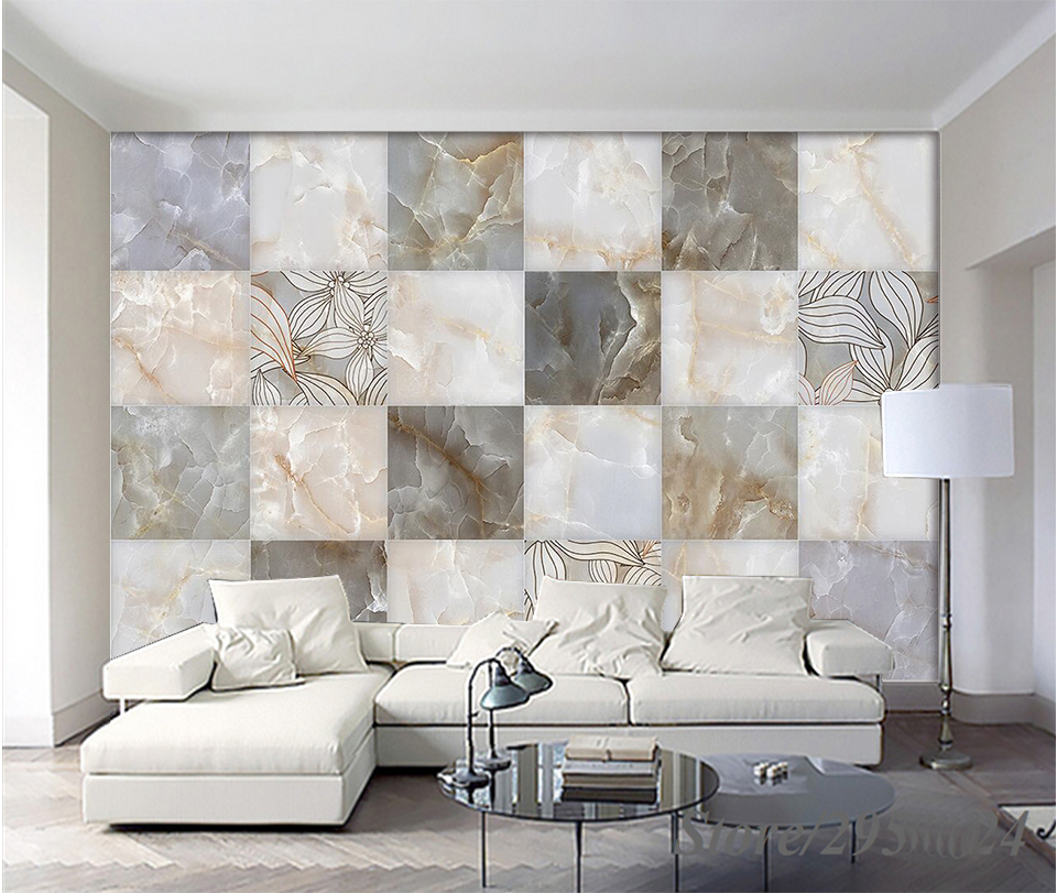 Modern 3d hd european style marble simple floral tile for Living room 3d tiles