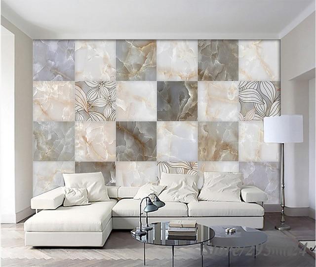 Moderne 3D HD Style Européen Marbre Simple Floral Carrelage Fond Papier  Peint TV Canapé Fond Mur