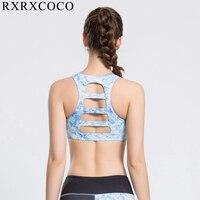 RXRXCOCO 2018 Nouveau Femmes Fitness Yoga Soutien-Gorge de Sport Pour Courir Gym Pad Imprimé Le Mot Dos Sous-Vêtements Haut Soutien-Gorge Dos Nu Sport Costumes