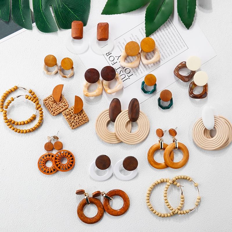 AENSOA Multiple 27 Style Korea Handmade Wooden Straw Weave Rattan Vine Braid Drop Earrings New Fashion Geometric Long Earrings