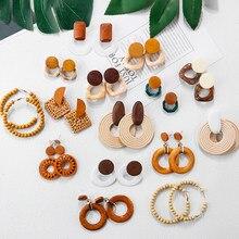 AENSOA Mehrere 27 Stil Korea Handgemachte Holz Stroh Weben Rattan Vine Braid Ohrringe Neue Mode Geometrische Lange Ohrringe