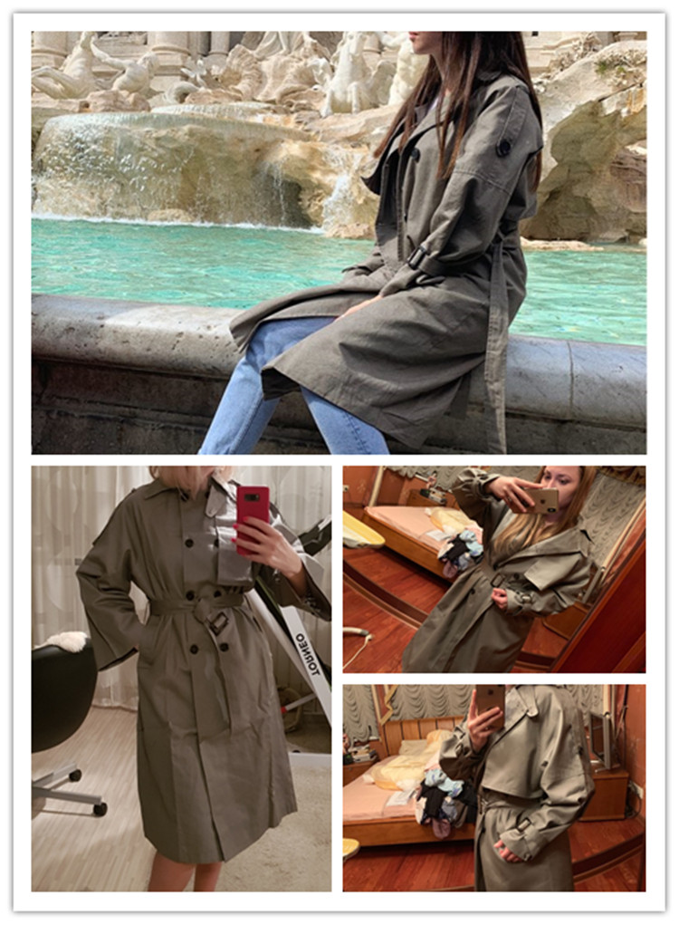 Russian autumn winter casual loose trench coat with sashes oversize Double Breasted Vintage overcoats windbreaker outwear 2
