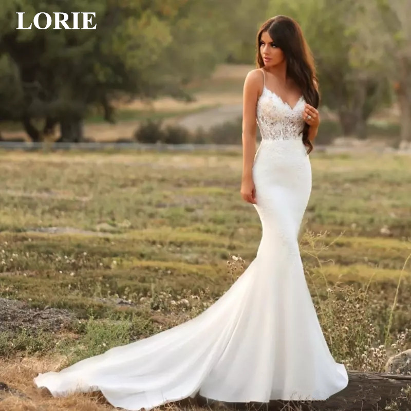 LORIE Mermaid Wedding Dress 2019 Lace Spaghetti Strap Open Back Zip Up Bridal Gown Modest Stain Beach Vestido De Noiva Customize