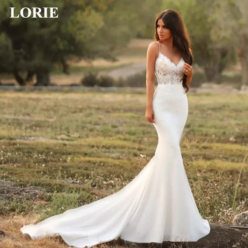 LORIE Mermaid Wedding Dress 2019 Lace Spaghetti Strap Open Back Zip Up Bridal Gown Modest Stain Beach Vestido De Noiva Customize