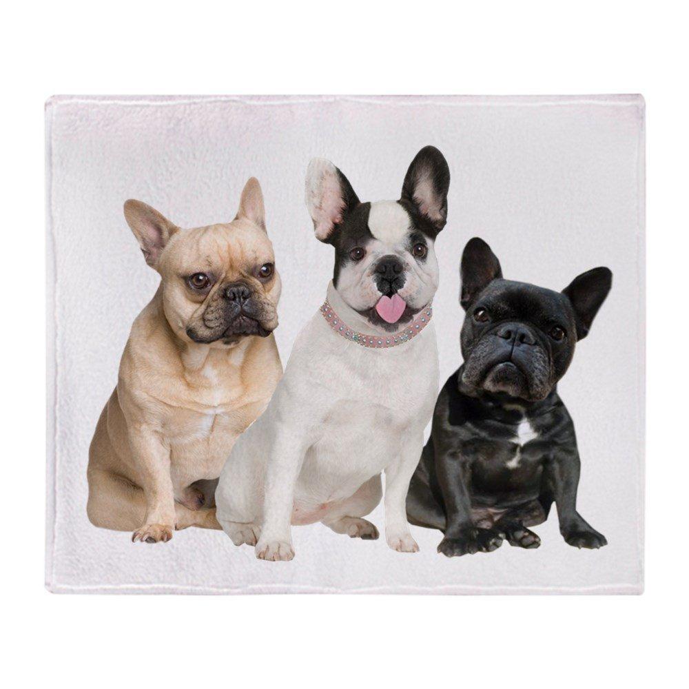 Three French Bulldogs Soft Fleece Throw Blanket, 50x60 Stadium Blanket Sofa Bed Throw Blanket Kid Adult Warm Blanket